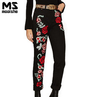 Mooishe Spring Fashion Women Jeans Rose Floral Embroidered High Waist BF Long Women Denim Pants Jeans