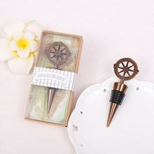 10pcs Metal Wine Bottle Stoppers Travel Theme Wedding Guests Gift Stopper Compass Wedding Souvenirs Wine Accessories