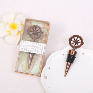 Image 1 - 10pcs Metal Wine Bottle Stoppers Travel Theme Wedding Guests Gift Stopper Compass Wedding Souvenirs Wine Accessories