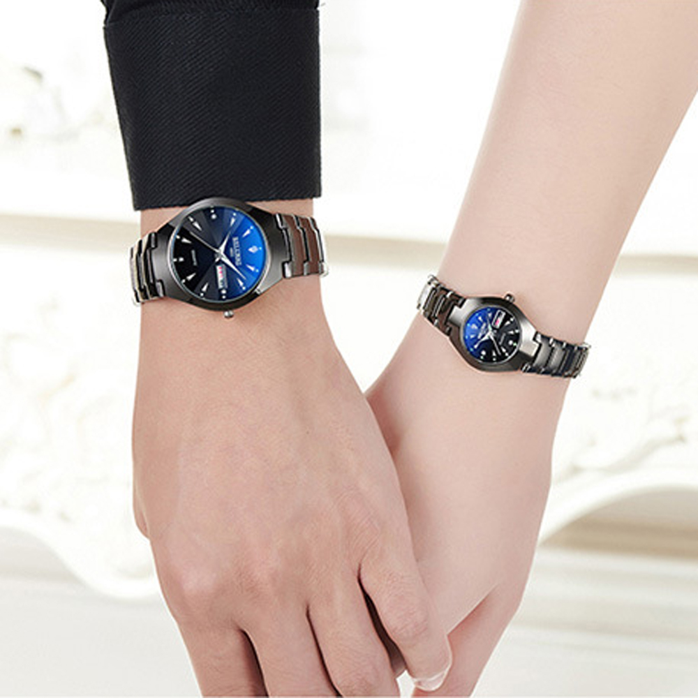 Image 5 - Couple Watches 2019 Top Quality Tungsten Steel Black Wrist Watch for Men and Women Bracelet Female Watch Reloj Hombre Lover Saat-in Lover's Watches from Watches