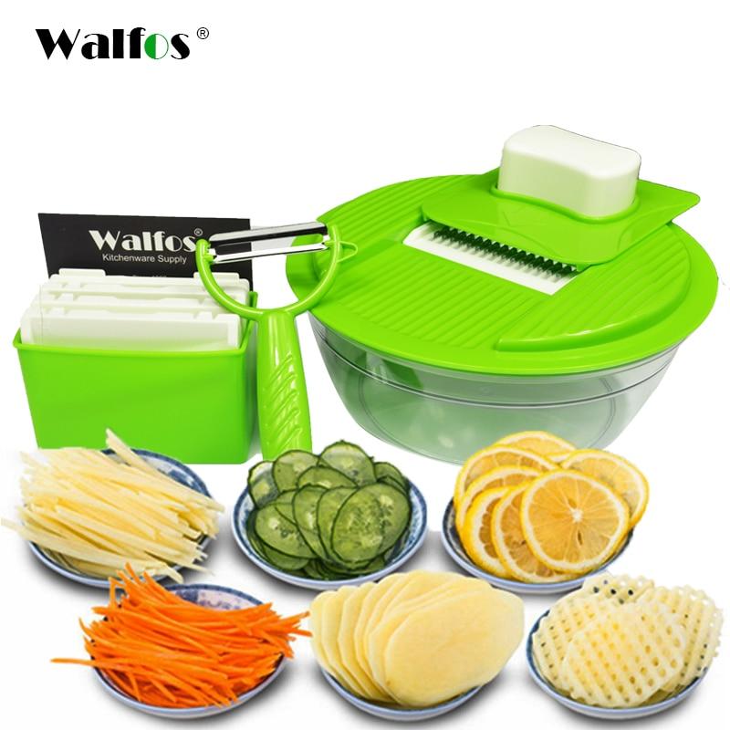 WALFOS Mandoline Gemüsehobel Dicer Gemüseschneider Slicer Mit 4 Austauschbar Edelstahl Klingen Kartoffelschneider Werkzeug