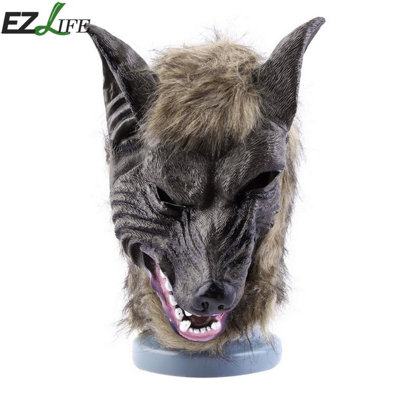 1ชิ้นฮาโลวีนหน้ากากหัวหมาป่าสัตว์น้ำยางหมาป่าหัวกับผมหน้ากากชุดแฟนซี