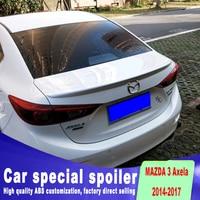Pressure high quality 3 spoiler for 2014 to 2017 up primer or black white color mazda 3 spoilers streamline Spoiler plate
