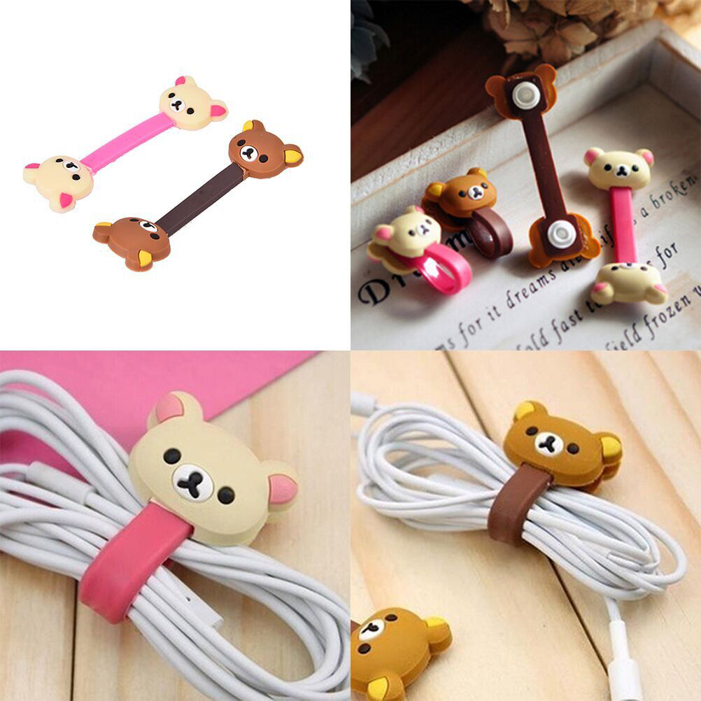 4PCS Earphone Cord Stationery Holder Animals Cable Winder Chick Headphone Winder Earbud Silicone Cord Wrap Wire Organizer