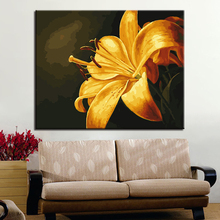 DIY Digital Oil Painting By Numbers Kits Colors Drawing Yellow Lily Flower On Canvas Living Room Unique HandPaint Gift Artwork