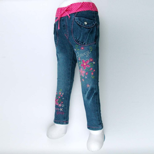 6c4903bc7 Crianças strass Leggings Jegging magros calça Jeans meninas infantis  adolescente criança bordar calças Jeans de alta
