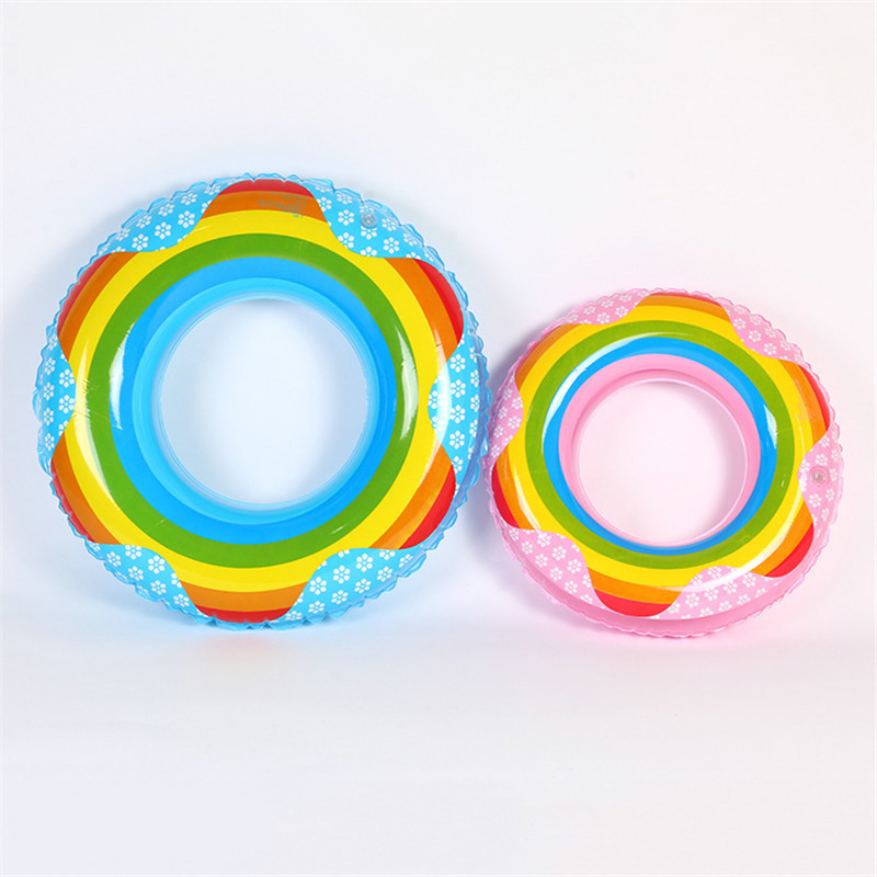 Inflatable Rainbow Swim Ring Pool Float inflatable Donut Swimming Circle Womens Rainbow Float Pool Party Lifebuoy Water Toys