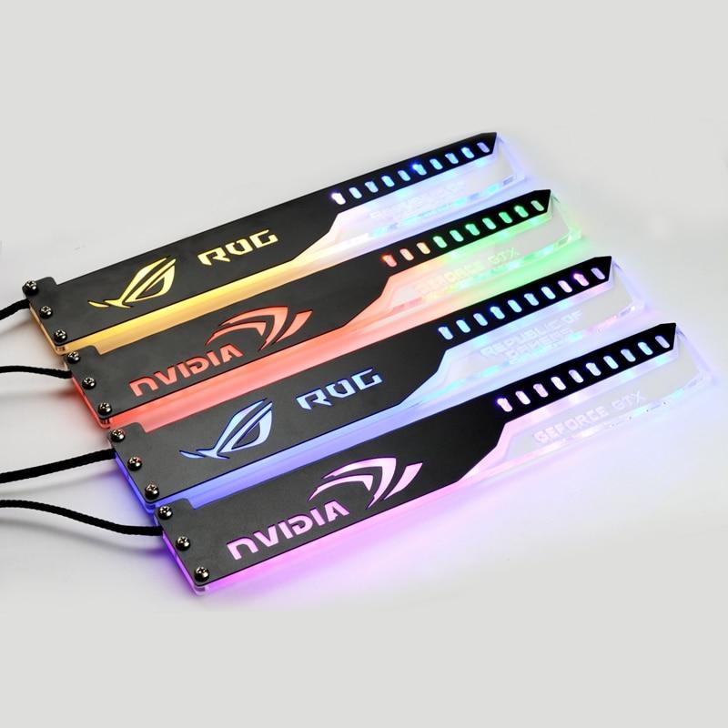 5V 3PIN Header RGB Light / Metal Acrylic Bracket use for Brace GPU card Size 280*45*6mm / Fix Video Card Compatible AURA SYNC