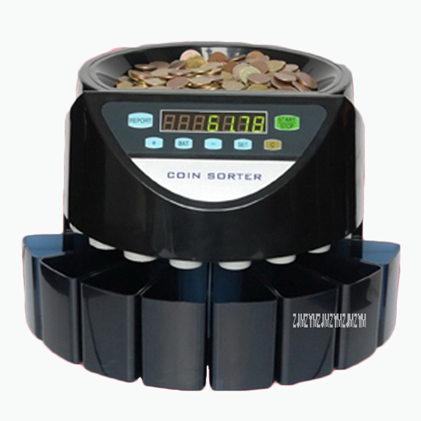 SE-900 220V/110V Electronic Coin Counter Coin Sorter Counting machine For Most Countries Coins 200pcs/min цена