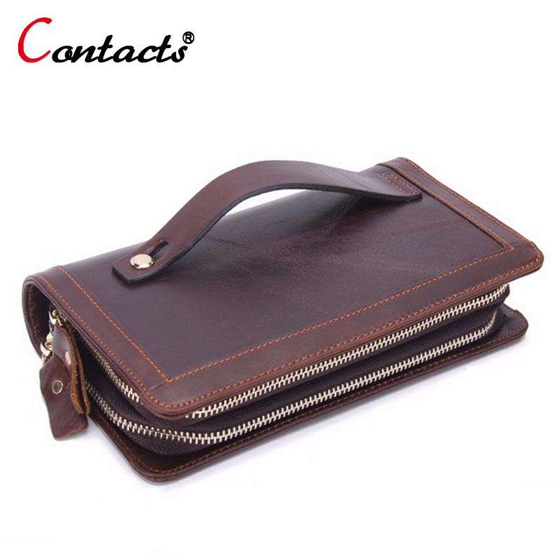 CONTACT S big long Genuine Leather wallet men coin purse male Clutch Bag Handy phone travel