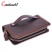 CONTACT'S big long Genuine Leather wallet men coin purse male Clutch Bag Handy phone travel credit card holder Zip wristlet bag