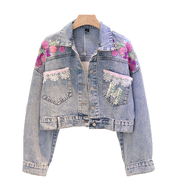 Floral Embroidered Denim   Jacket   Women Lace Sequined Spliced   Basic     Jacket   For Women Hot Sale Direct Selling Sleeved Coats