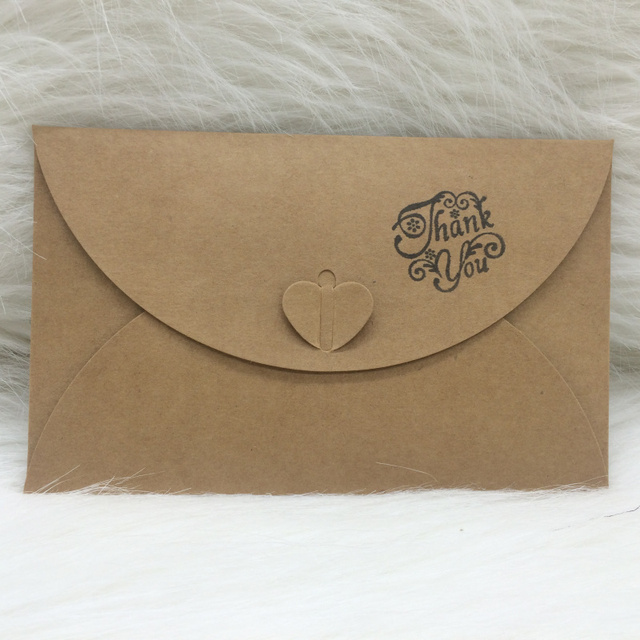 DIY 50pcs/lot Kraft Paper Wedding Invitations Envelope Birthday Party  Invitations Envelope With Thank You