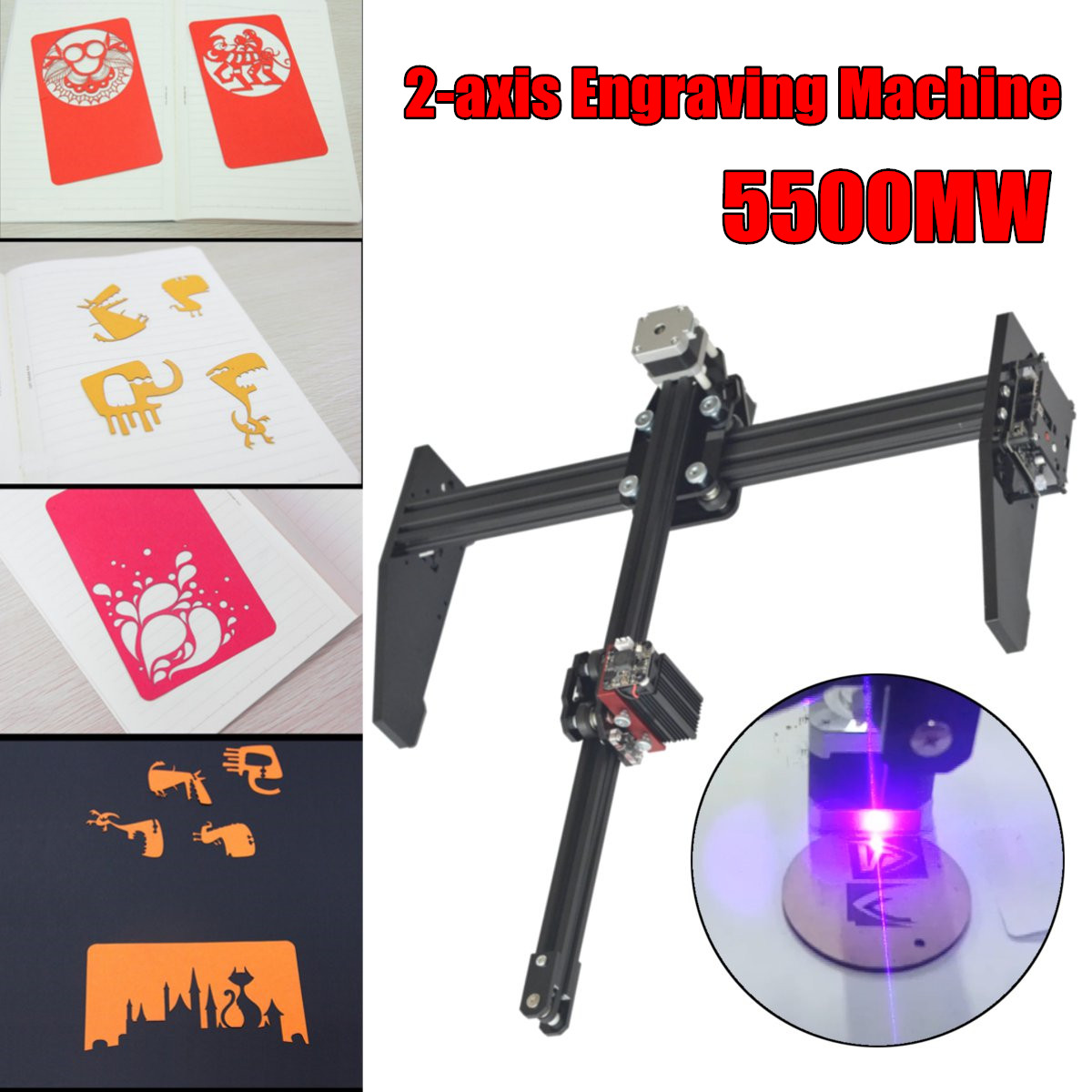 New Style 5500MW 2 Axis Laser Engraving Machine Cutting Engraver CNC Logo Printer Machine DIY Laser Engraver Machine nubwo n2u pc gamer headset usb stereo gaming headphones with microphone mic led light best over ear casque computer game headset