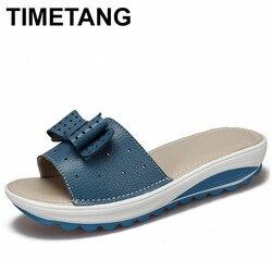 TIMETANG  New Women's Sandals Cow Leather Women Flats Shoes Platform Wedges Female Slides Beach Flip Flops Summer Shoe Lady