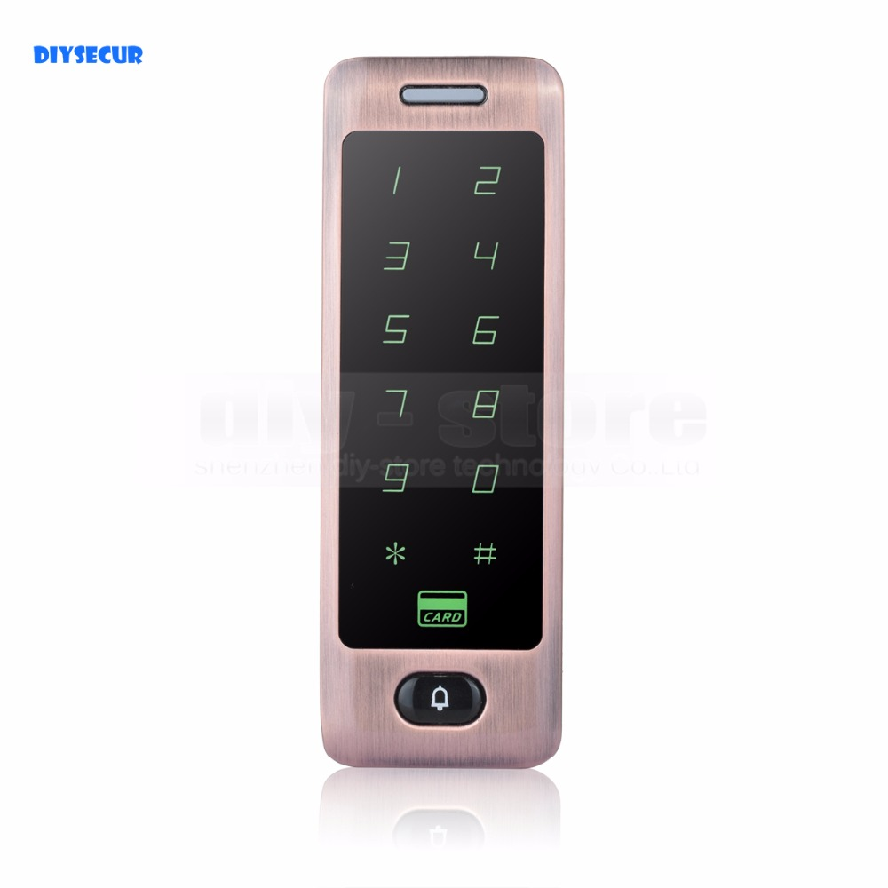 DIYSECUR Touch Button 125KHz Rfid Card Reader Door Access Controller System Password Keypad + Door Bell Button diysecur lcd 125khz rfid keypad password id card reader door access controller 10 free id key tag b100