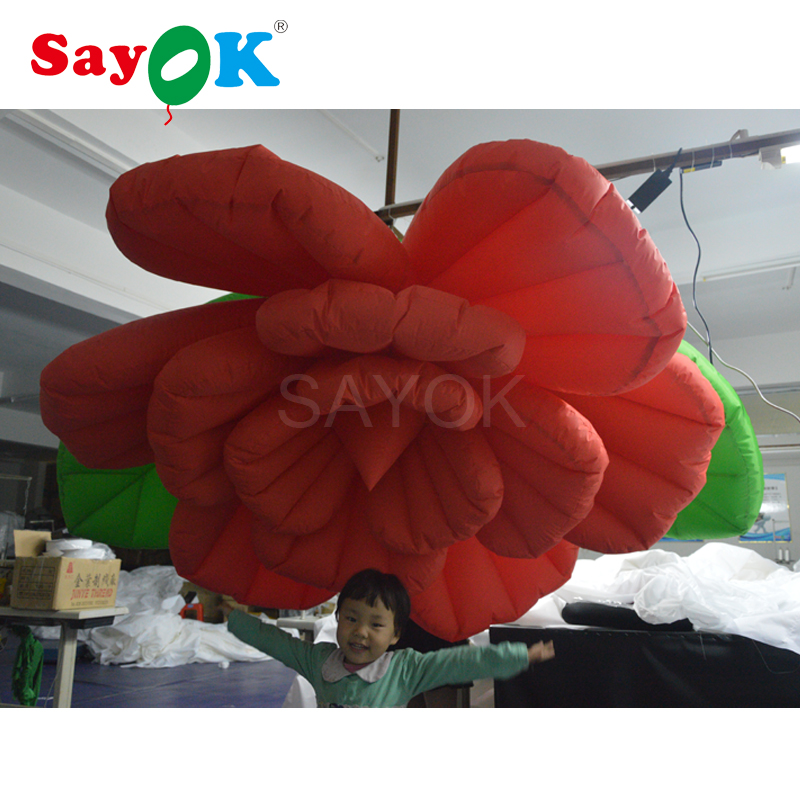1.5/2m Giant Inflatable Flower Decoration Hanging Inflatable Red Rose Flower Wedding Party Event Bar-in Party DIY Decorations from Home & Garden    1