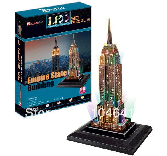 Empire State Buklding with LED light CubicFun 3D educational puzzle Paper&EPS Model Papercraft Home Adornment for christmas gift colosseum cubicfun 3d educational puzzle paper