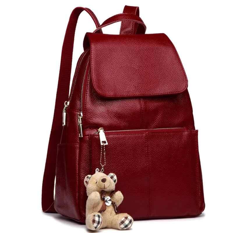 4cc0e93da447 2018 женский рюкзак из натуральной кожи большой емкости женские дорожные  сумки для девочек модные школьные сумки