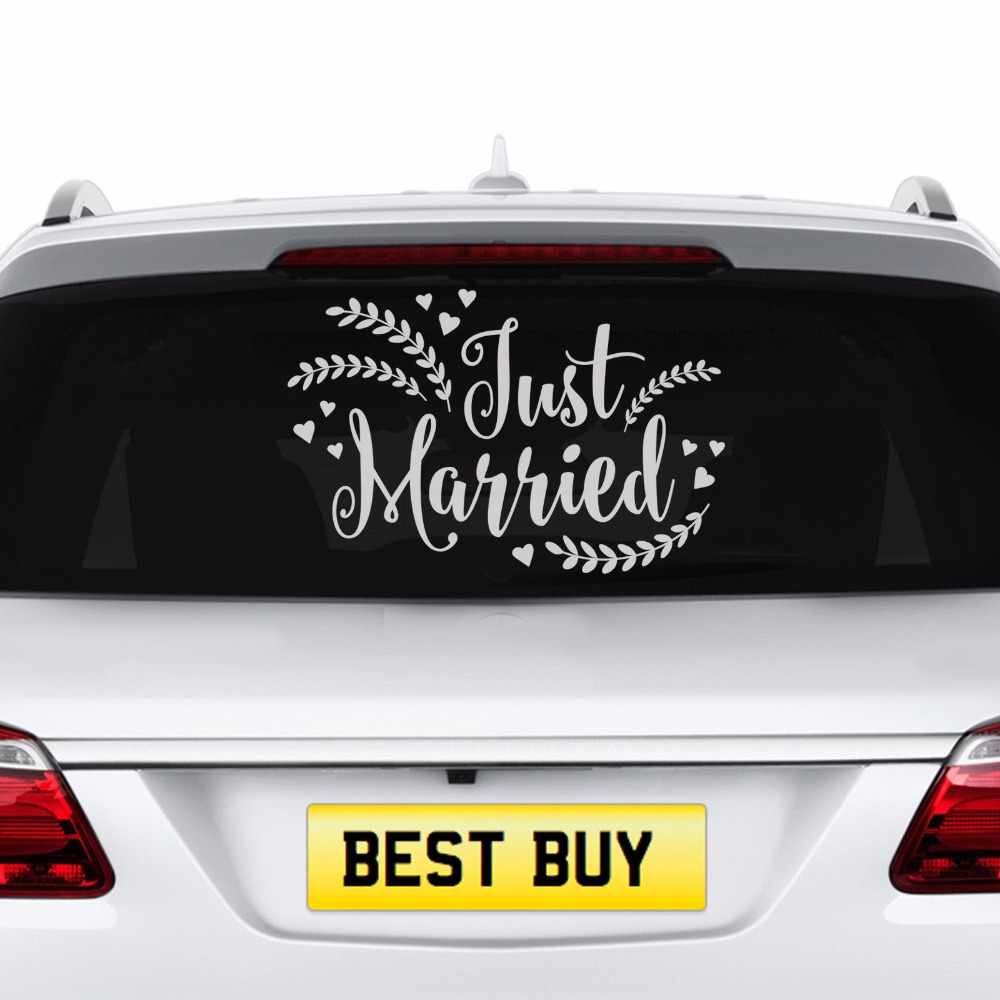 Window removable banner decal new just married wedding car decal vehicle sticker wedding party mirror frame