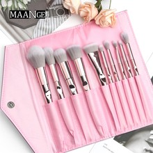 MAANGE 10Pcs Beauty Make up Brushes Set Eye Shadow Lip Face Blend Brush Professional Pink with Makeup Bag Cosmetic Tool Kit