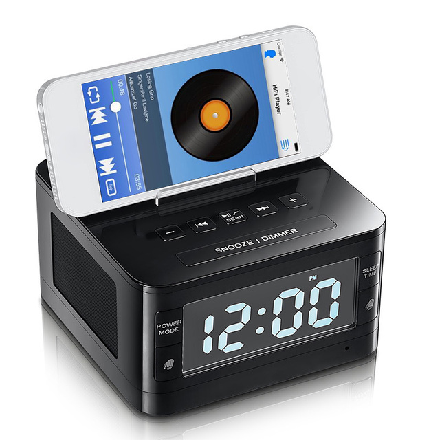 portable fm radio alarm clock audio music wireless bluetooth speaker charger dock station for. Black Bedroom Furniture Sets. Home Design Ideas