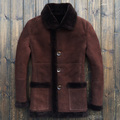 2015 Luxurious Business Leather leather Scrub Sheep skin Fur Men's fur jacket Coat 8135