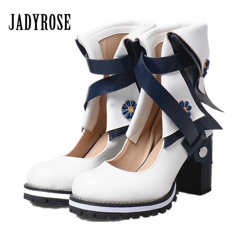Jady Alto Británico Rosa Verano Las Bombas Mujeres Mujer Grueso Zapatos Tobillo Correas Genuino rojo Blanco Azul amarillo Plataforma Con De Tacón Botas Cuero rrgxT6