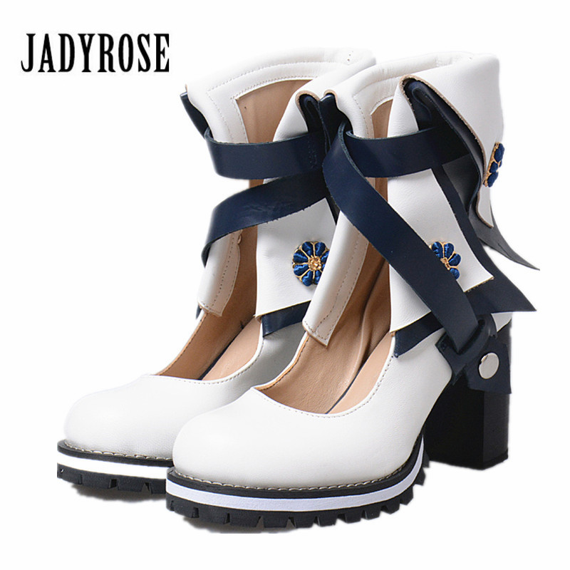 Jady Rose British Genuine Leather Women Ankle Boots White Chunky High Heel Shoes Woman Straps Summer Boot Women Platform Pumps womens punk ankle boots chunky heels platform side zip leather moto shoes woman high heel thick heel platform motrocycle boot