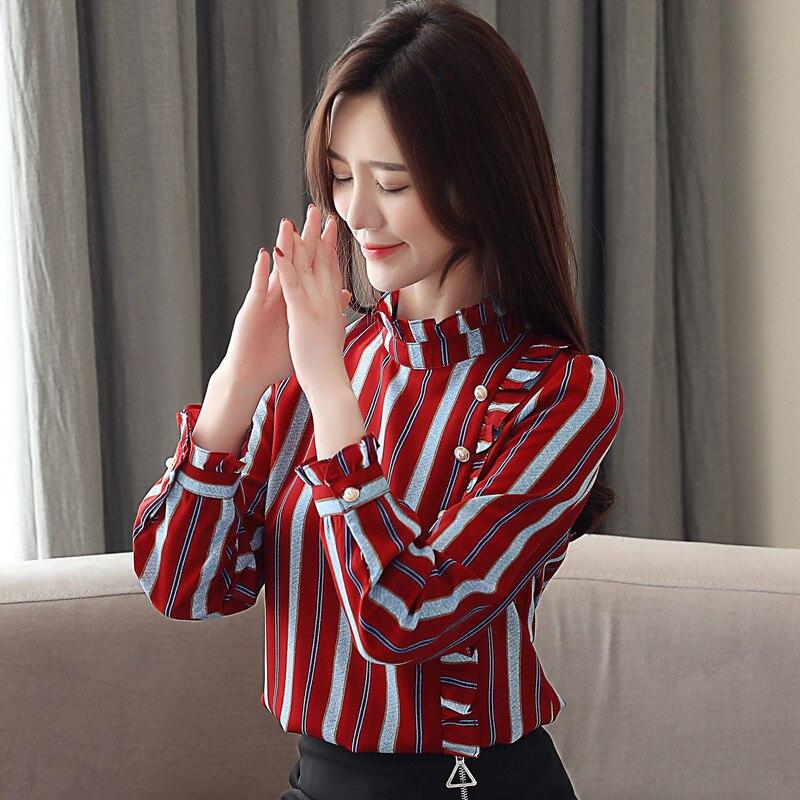85f418121e Lossky Mulheres Tops Blusas 2018 Outono Elegante de Manga Comprida Com  Decote Em V Sólida Chiffon