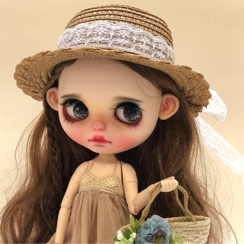 Vintage Round Bowler Doll Hat Caps For Blythe Doll Toy,Fashion Handmade Lace Straw Hat For Blyth Sharon 1/3 BJD Doll Accessories