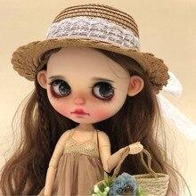 Винтажная круглая кукольная шляпа-котелок, шапки для куклы Blythe, модная кружевная соломенная шляпа ручной работы для Blyth Sharon 1/3, аксессуары для куклы BJD