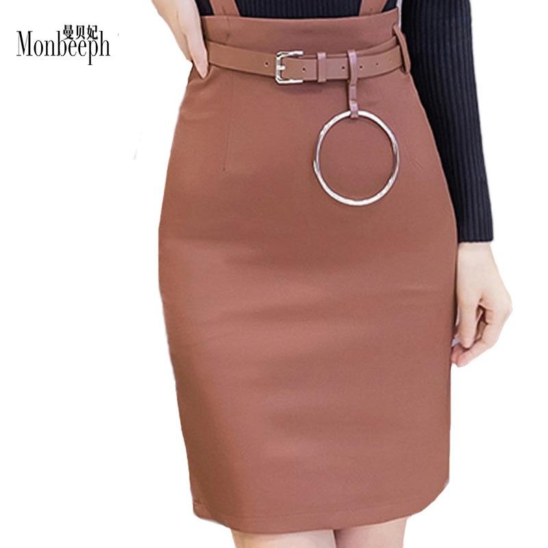 2018 plus size S-3XL Plus Size Slim Office Skirt Women Sexy Elastic High Waist Pencil Skirt Step Office Formal strap Skirt