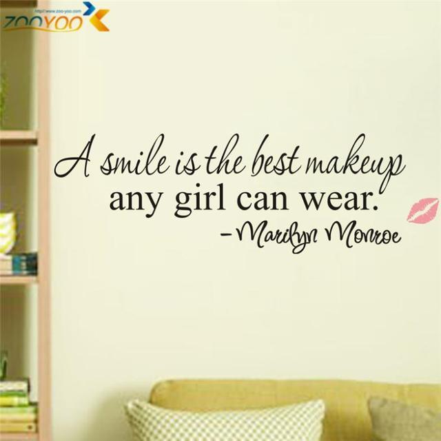 Una sonrisa es el mejor maquillaje zooyoo8129 decorativo adesivo de parede decoración creativa tatuajes de pared extraíble pegatinas de vinilo de pared