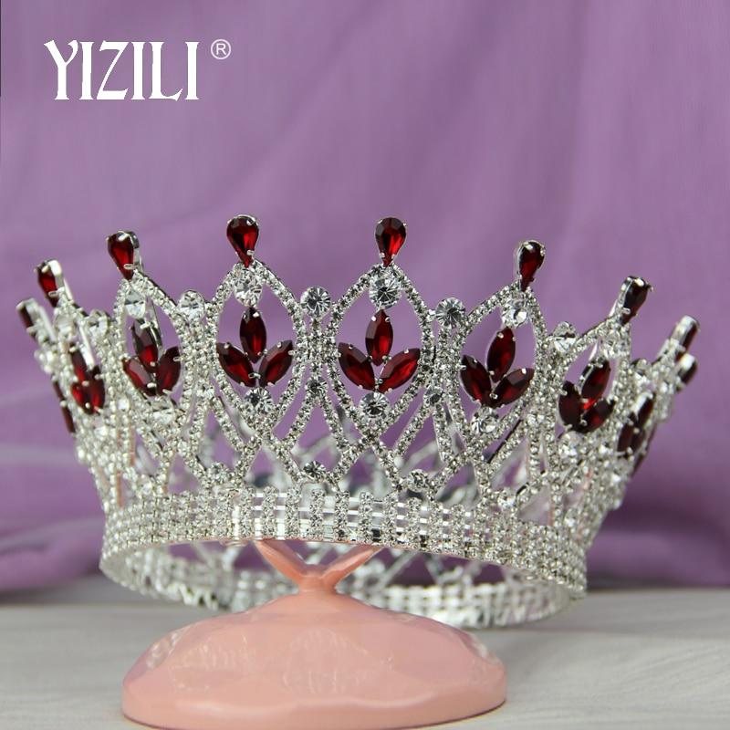 YIZILI Luxury Vintage Big Wedding Crown Headband Bridal Tiara Party Show Pageant Hair Accessories Full Rhinestone