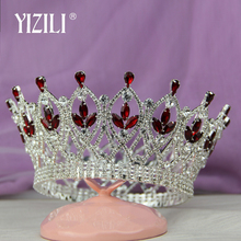 YIZILI الفاخرة خمر الزفاف الكبير عقال للرأس على شكل تاج تاج العروسة عرض الحفلات إكسسوارات الشعر كامل حجر الراين مخلب سلسلة C28