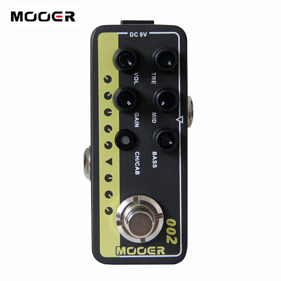 Mooer 002 UK Gold 900 Micro Digital Preamp Guitar Effect Pedal with 3 Band EQ Gain and Volume Controls mooer baby bomb guitar effect pedal master volume provide warm true tube like 30w digital micro power amp bm30