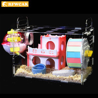 RFWCAK Luxury Hamster Cage Funny Guinea Pig Cage Acrylic Small Pets Mice House Chinchilla Ferret Hedgehog Hamster Accessories