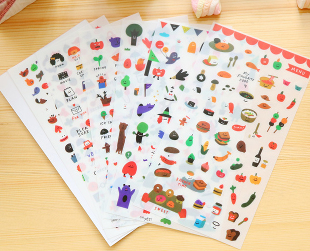 6pcs favorite food pvc Transparent Organizer Calendar Diary Book Planner Sticker Scrapbook Decoration Diary Sticker papeleria greenwell j first numbers sticker book