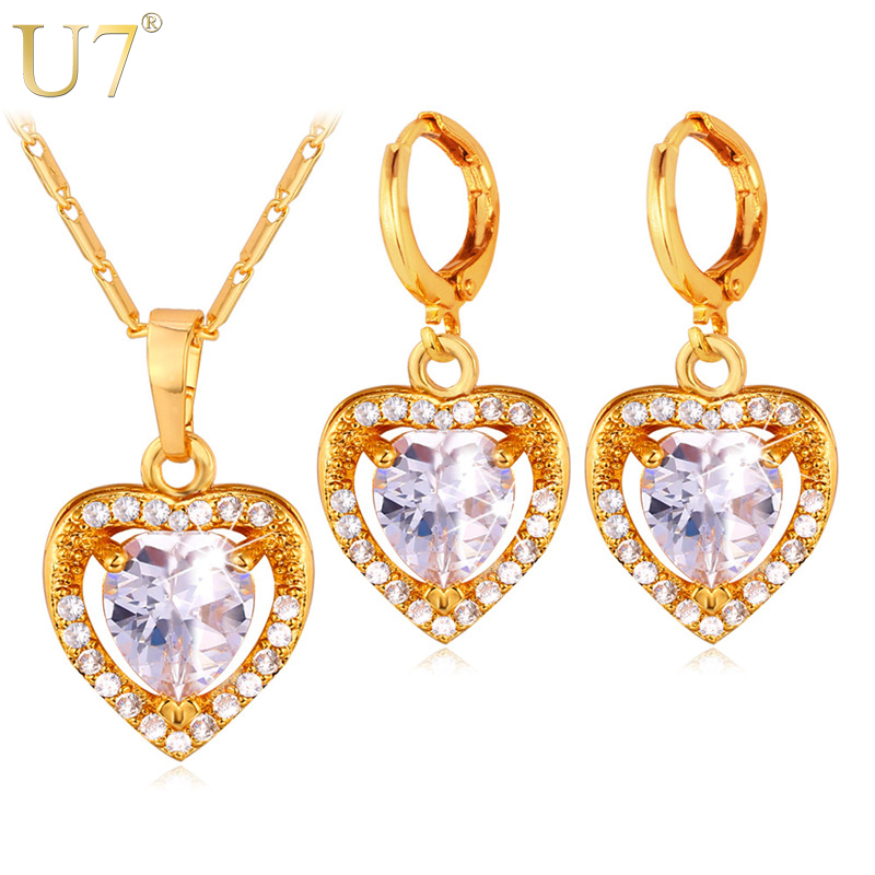 U7 Cubic Zirconia Love Heart Jewelry Set Silver/Gold Color Crystal Earrings Pendant Necklace Set Women Gift Wedding/Party S724U7 Cubic Zirconia Love Heart Jewelry Set Silver/Gold Color Crystal Earrings Pendant Necklace Set Women Gift Wedding/Party S724