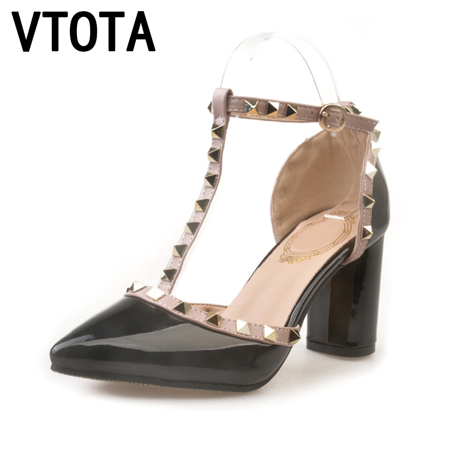 VTOTA Women Sandals Wedding Dress Sandalias Mujer Sexy Rivets Pumps High Heels Sandals Women Sandales Femmes 2017 Ladies Shoes A handmade fashion ladies high heels suede gladiator sandals rhinestone wedding dress shoe women pumps sandalias mujer shoes woman