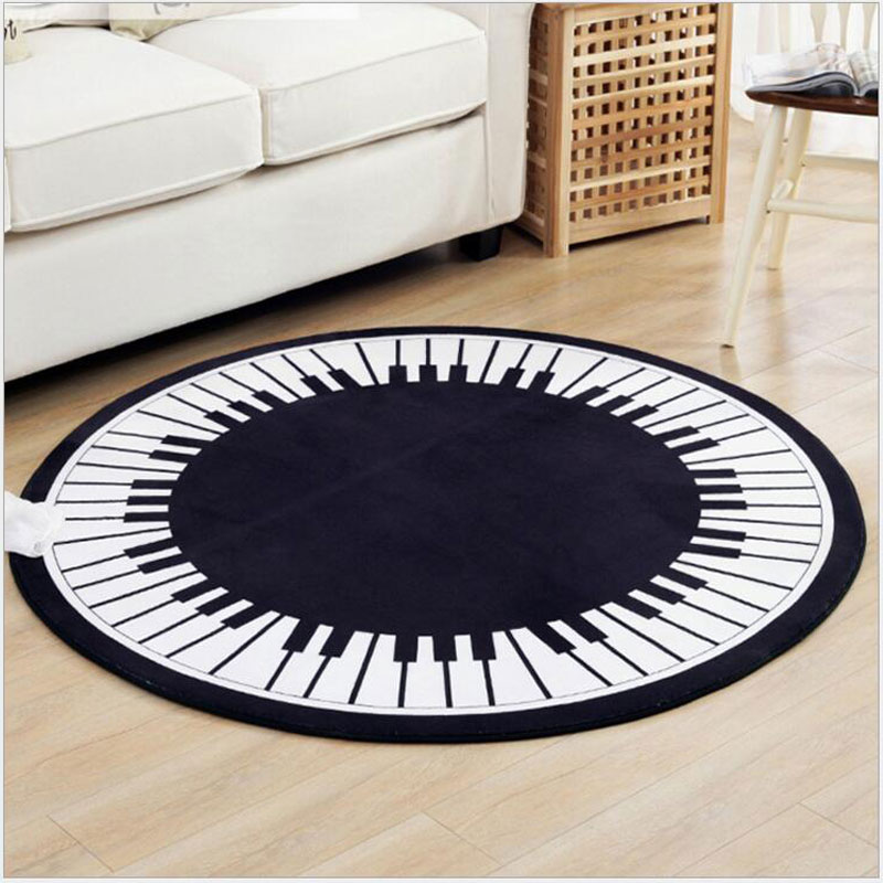 Creative Piano Key Round Carpet Area Rug for Living Room Bedroom Modern Simple Nordic Decoration Home Computer Chair Floor Mat
