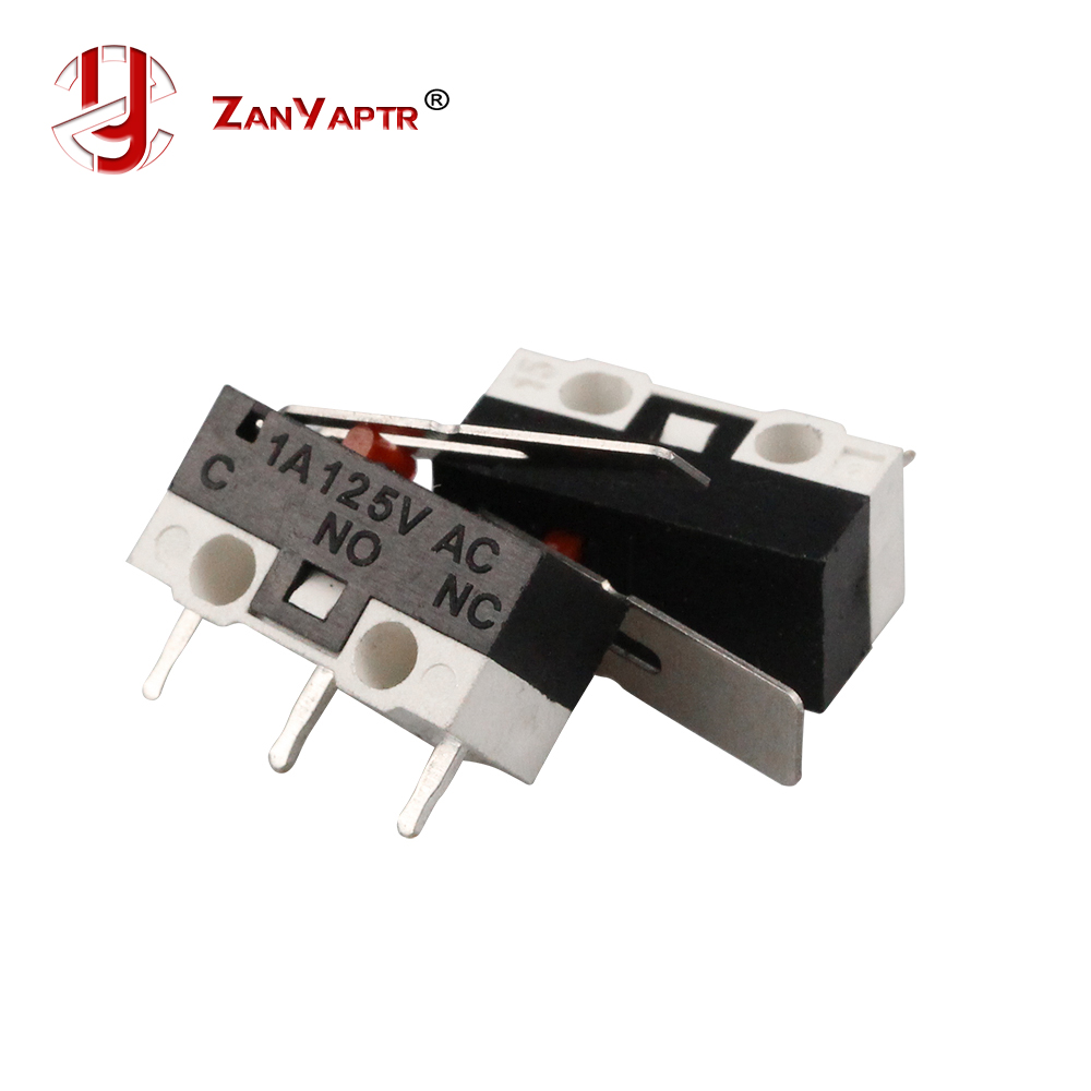 10pcs/lot Limit Microswitch With Three Straight Legs Mouse Side Key Momentary Micro Limit Switch1A/125V AC For Makerbot MK7/ MK8