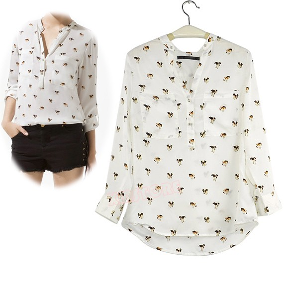 083fb0eac New Fashion Women Long Sleeve Chiffon Dog Puppy Print Shirt V-neck Button  Down Casual Blouse S M L
