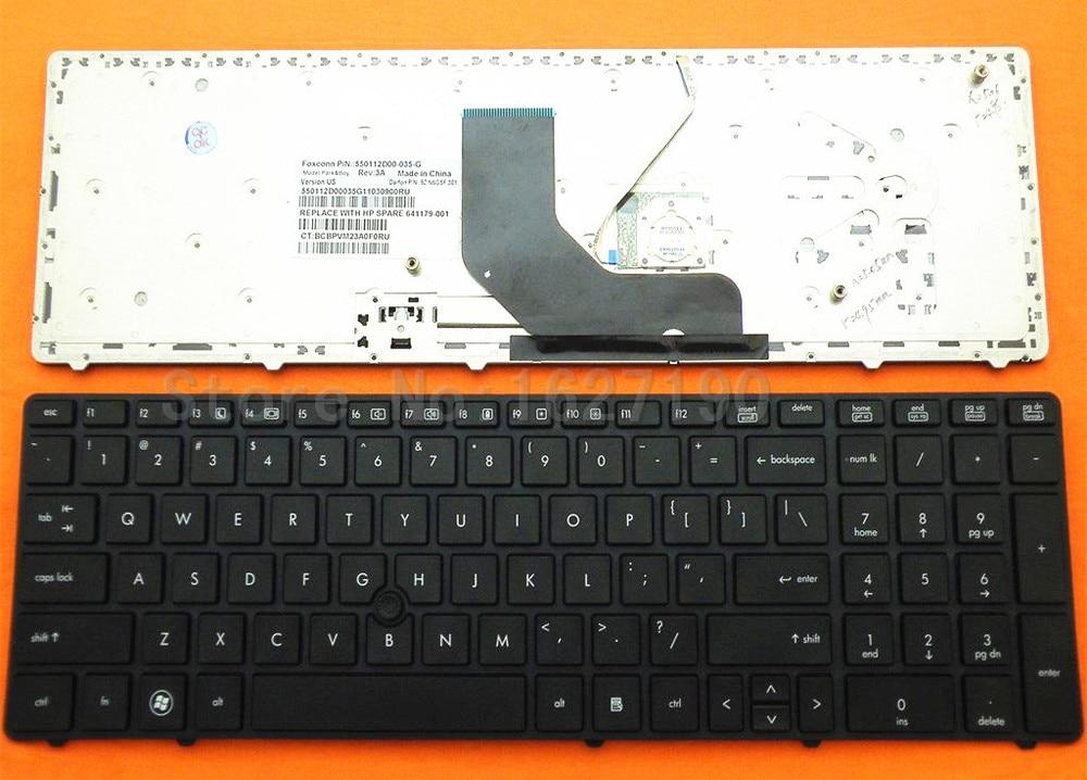 Us-tastatur Für HP ProBook 6560B/EliteBook 8570 P SCHWARZ RAHMEN SCHWARZ Mit punkt-stick...