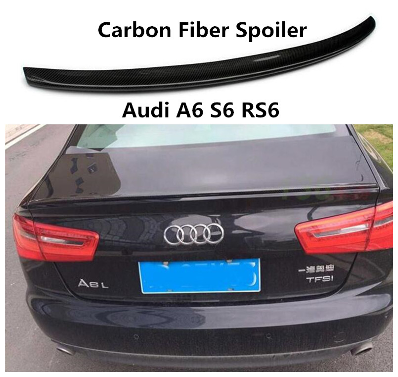 Carbon Fiber Spoiler For Audi A6 S6 RS6 2012-2019 High Quality Spoilers Auto Accessories By EMS image