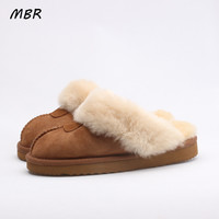 MBR Sheepskin Leather Fur Lined Women Home Shoes Winter Suede Slippers For Women Indoor Shoes Half