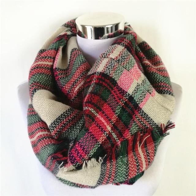 a9ab1d8d6 New Fashion Plaid Blanket Scarf Neck Warmer Acrylic Loop Scarf Popular  Winter Snood Tartan Women Infinity Scarf