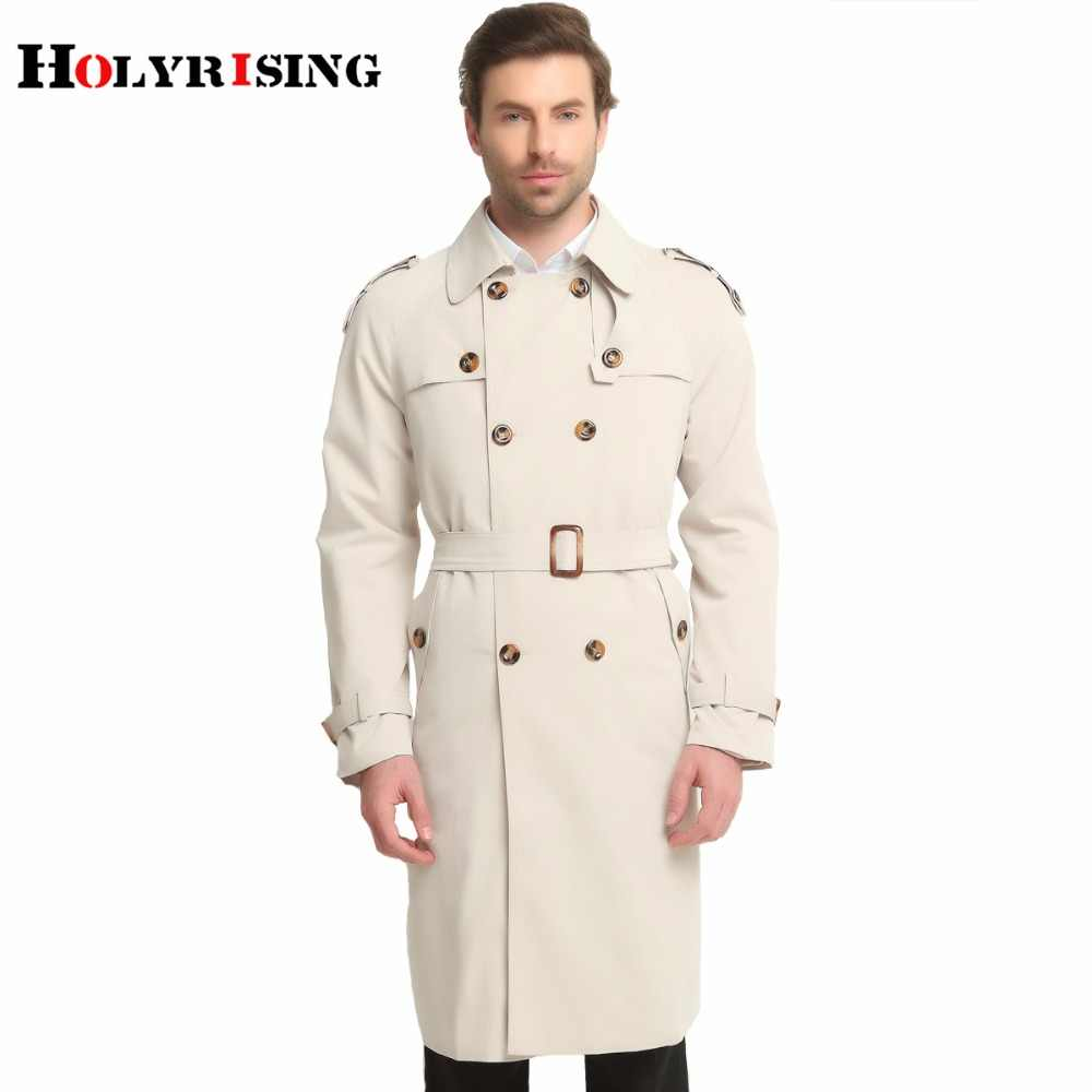 Holyrising S-6XL Lange Trenchcoat Mannen Klassieke Mode Britse Leisure Slim Fit Windbreaker Double Breasted Solid Beige Wind Jas