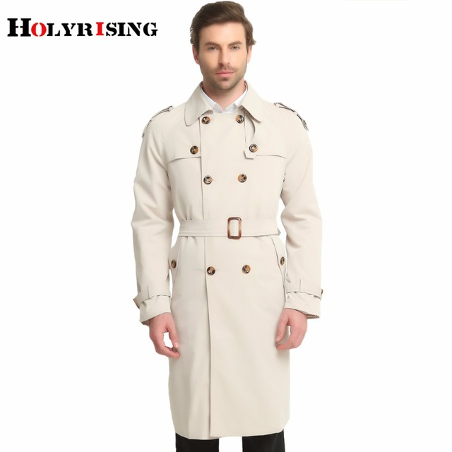 Holyrising S-6XL Long Trench Coat Men Classic Fashion British Leisure Slim Fit Windbreaker Double Breasted Solid Beige Wind Coat